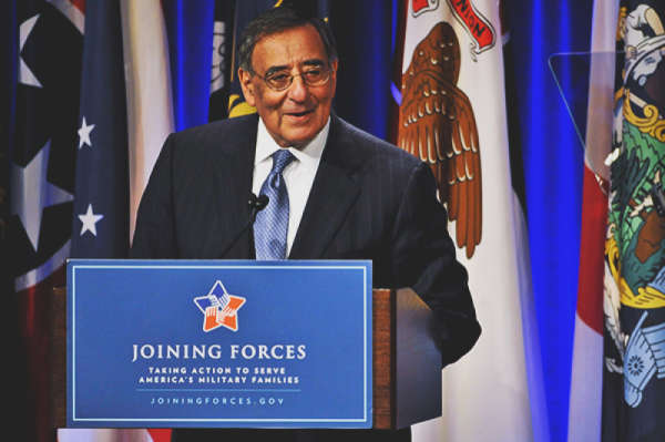 Defense Secretary Leon E. Panetta speaks during a Pentagon ceremony co-hosted by First Lady Michelle Obama and Dr. Jill Biden, wife of the Vice-President, announcing the release of the military spouse employment report.
